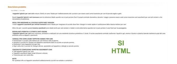 scheda prodotto amazon in html